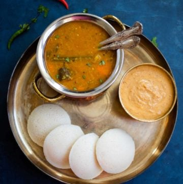 Idli, Sambar and Chutney in a plate