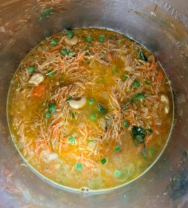Vermicelli being cooked in a pot