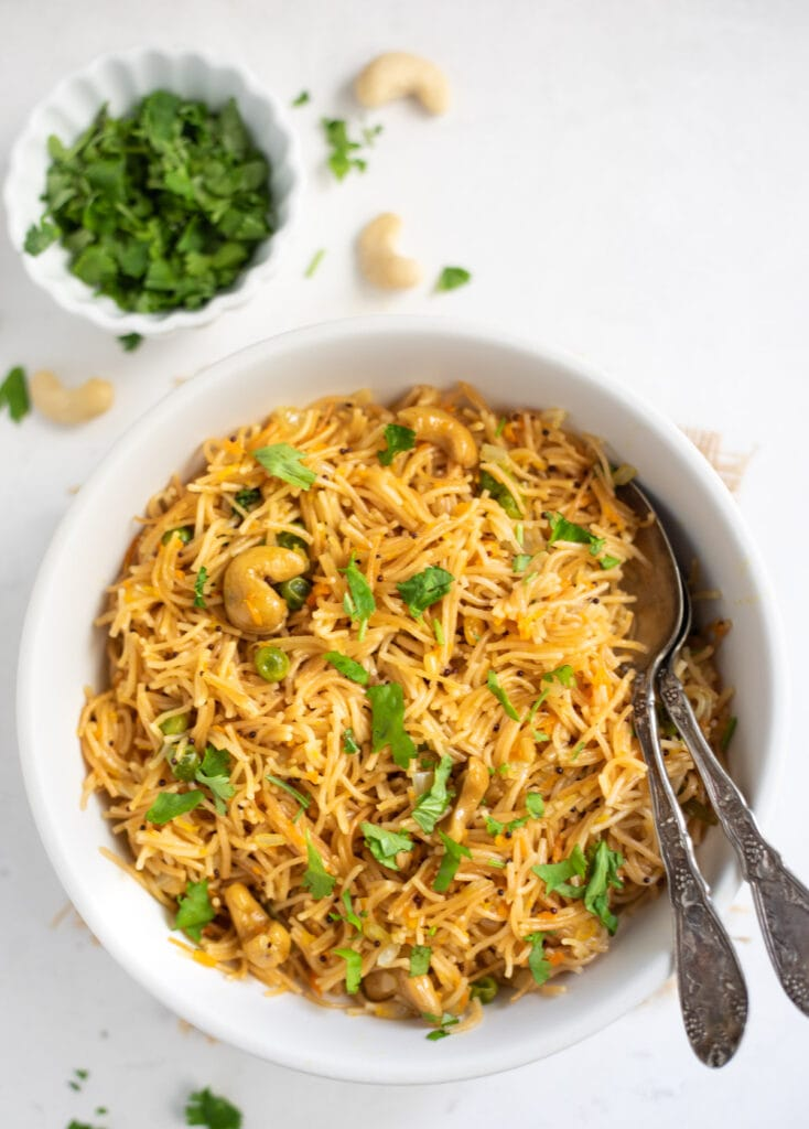 Semiya Upma made with vermicelli noodles in a bowl garnished with cilantro