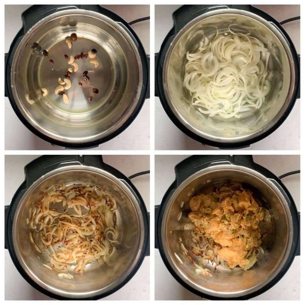Steps to make biryani in the instant pot