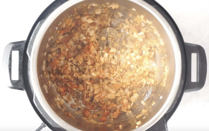 Chole Recipe Step 3 - Add tomatoes and spices in pressure cooker
