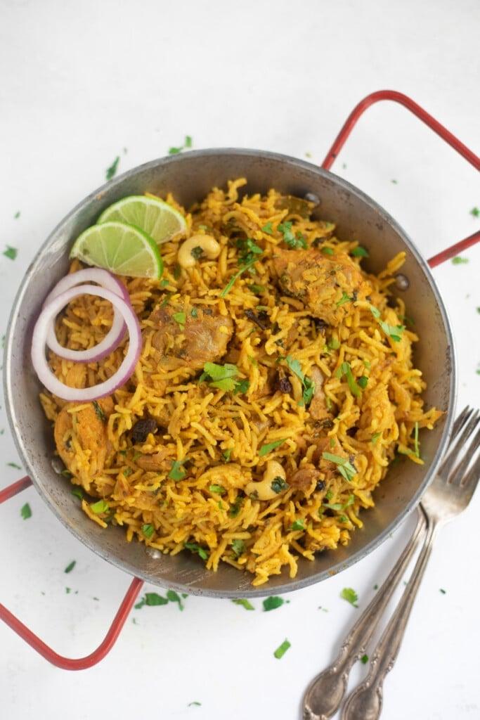 Chicken Biryani served in a platter