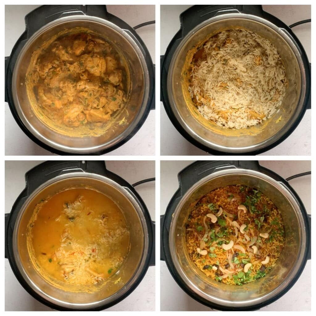 Chicken Biryani being made in the instant pot step by step