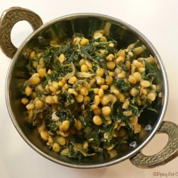 Kale Chana Dal / Kale Chickpeas Stir Fry – Instant Pot Pressure Cooker