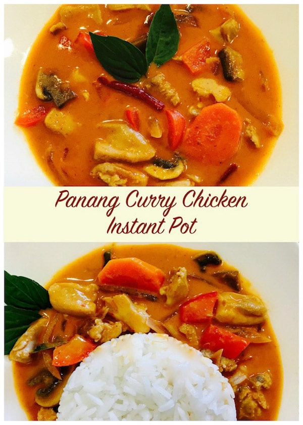 Enjoy this flavorful Panang Curry with Chicken made in the Instant Pot.  I use a curry paste and guess what...it takes just 20 mins to get this wonderful dinner on the table | #panang #curry #thai #instantpot #pressurecooker #chicken #glutenfree | pipingpotcurry.com