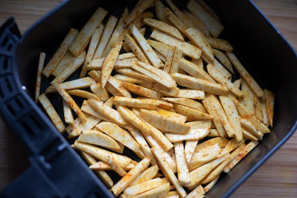 seasoned taro fries in the air fryer