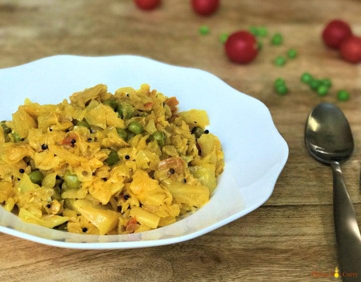 Cabbage Peas Stir Fry Patta Gobi Matar Instant Pot Pressure Cooker