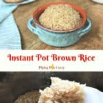 Instant Pot Brown Rice served in a bowl and shown in a ladle
