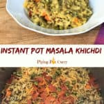 Masala Khichdi made in the instant pot served in a bowl.