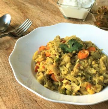 Instant Pot Lentil & Vegetable Khichdi / Masala Khichdi (Pressure Cooker)