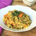 Lentil and Vegetable khichdi in a white bowl