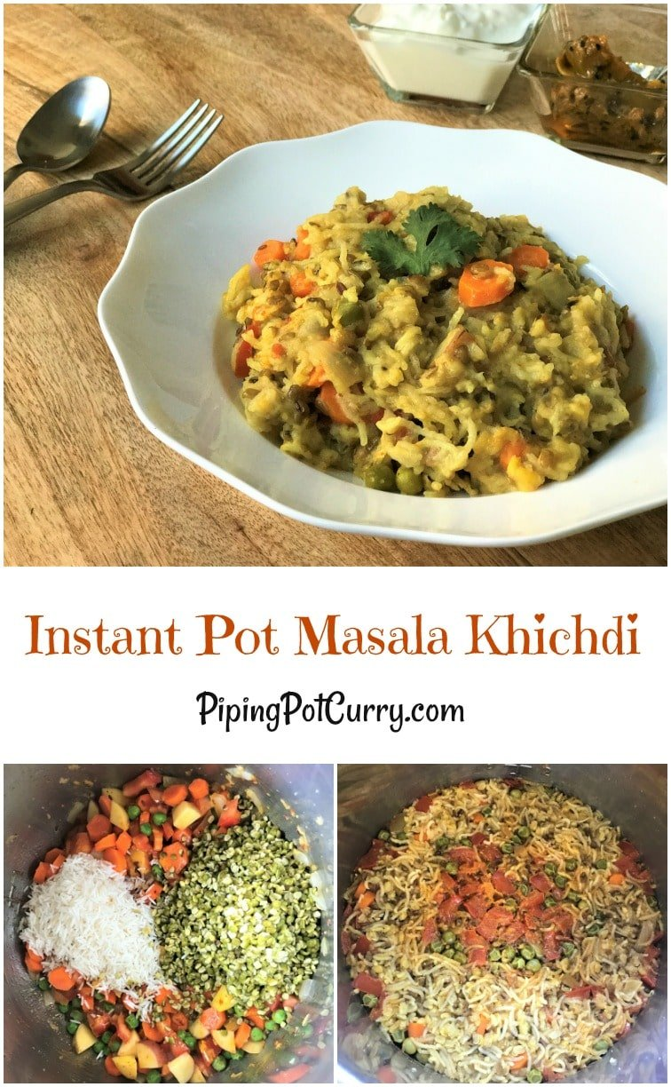 Lentil & Vegetable Khichdi or Masala Khichdi recipe made in Instant Pot or Pressure Cooker.  A one-pot vegetarian comfort meal made with lentils, rice and vegetables along with simple spices and ghee | #khichdi #instantpot #pressurecooker #moongdal #lentils #rice #vegetarian #spices #ghee #glutenfree #recipe #punjabi #masala #healthy #easy | pipingpotcurry.com