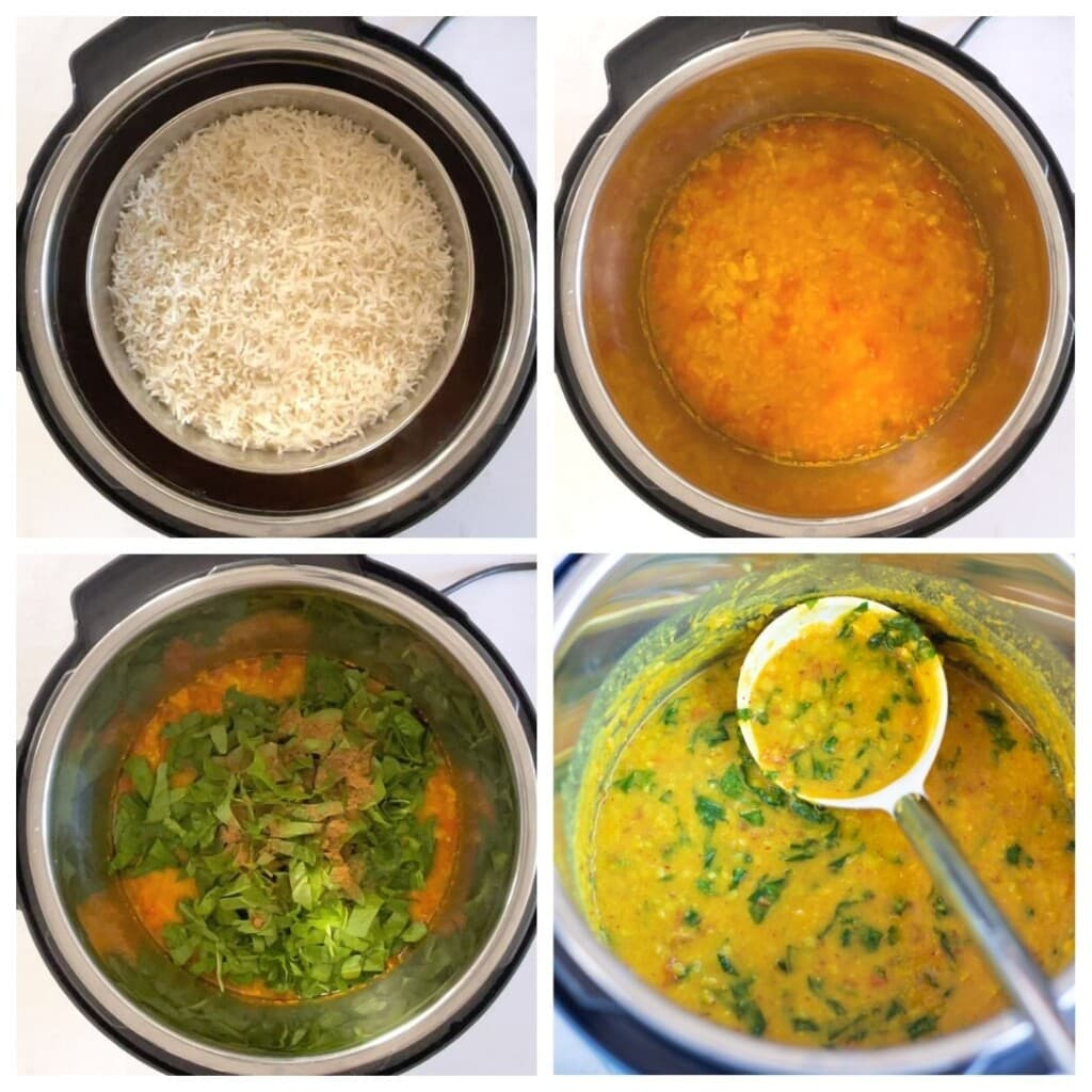 Steps for dal palak in instant pot with basmati rice
