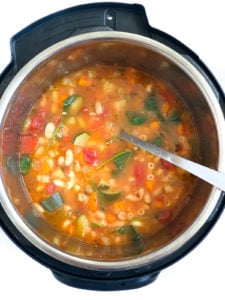 Minestrone Soup in the instant pot with vegetables, pasta and spinach