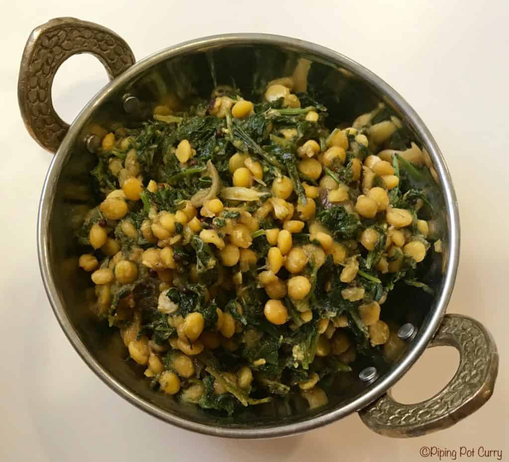 Kale Chana Dal Stir Fry Instant Pot