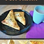 Paneer Puff Pastry Turnovers with a flaky golden crust with spicy flavorful paneer filling. Perfect appetizer for a party that can be prepared ahead of time. So easy and delicious! #airfryer #recipe #paneer #puffpastry #turnover #appetizer #snack #indian #vegetarian #partyfood #savory | pipingpotcurry.com