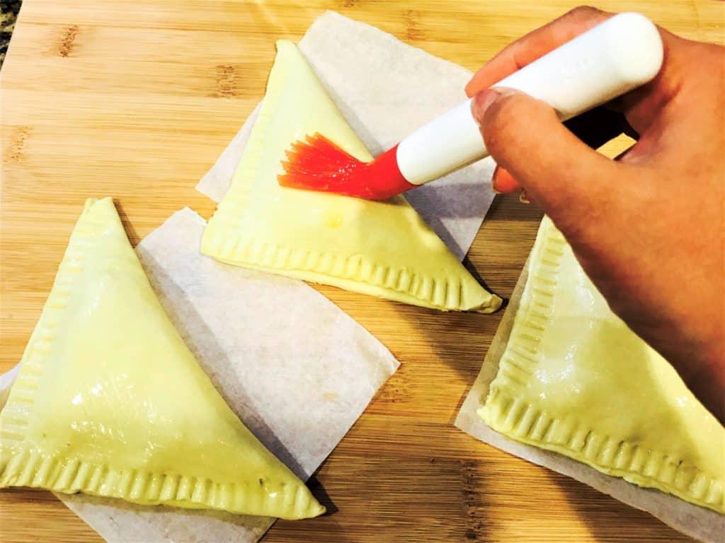 Paneer Puff Pastry brush woth egg white