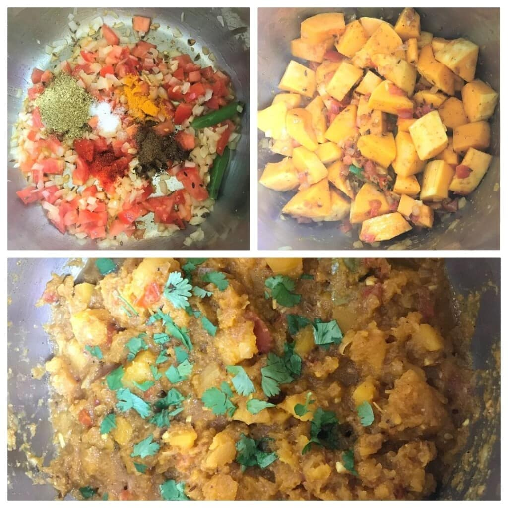 Steps to make pumpkin curry in the pressure cooker