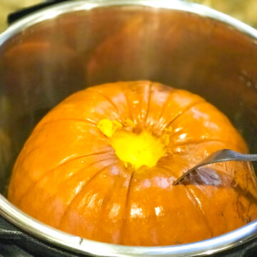 Cooked whole pumpkin for puree in the instant pot