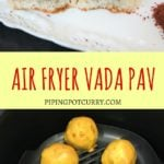 Vada Pav is the humble street food of Mumbai. A fried potato fritter in chickpea batter or vada, is stuffed in between mini-burger buns called pav, along with sweet and spicy sauces or chutney | pipingpotcurry.com