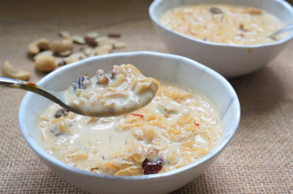 Seviyan or Vermicelli Kheer is a delicious dessert, perfect to make in the Instant Pot. A creamy and delicious pudding made with vermicelli, milk and sugar, infused with aromatic saffron, cardamom, nuts and raisins.