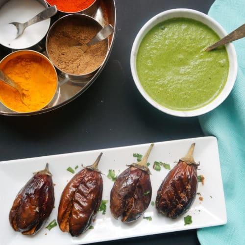Air Fryer Stuffed Eggplant. Bharwan Baingan