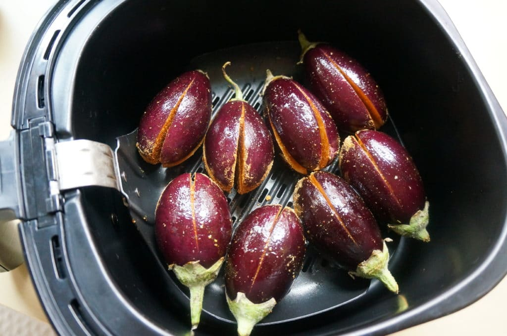 Air Fryer Stuffed Eggplant. Bharwan Baingan. Place spice stuffed eggplant in air fryer