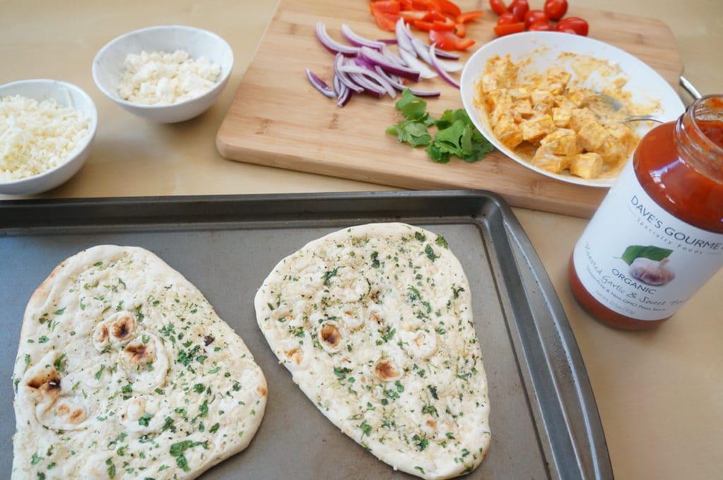 Ingredients for Tandoori Paneer Naan Pizza Air Fryer Oven