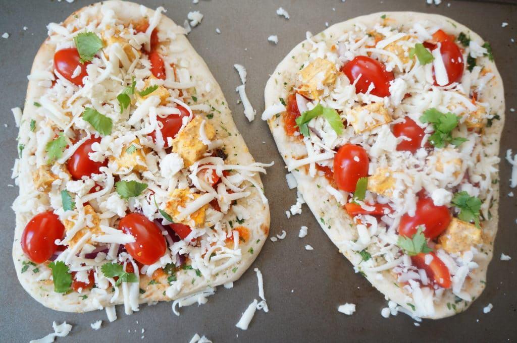 Tandoori Paneer Naan Pizza Air Fryer Oven in the making
