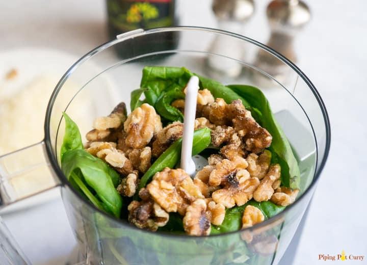 Basil Walnut Pesto - Basil & Walnuts in the food processor