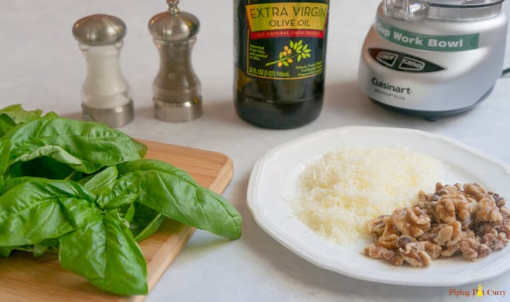 Basil Walnut Pesto Ingredients