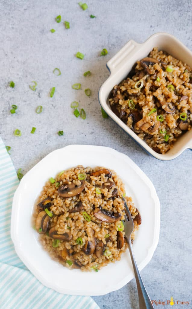 Brown Rice & Mushroom Pilaf - Instant Pot Pressure Cooker