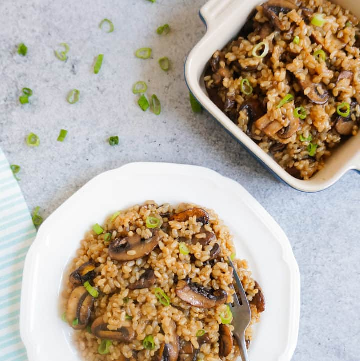 Brown Rice & Mushroom Pilaf - Instant Pot Pressure Cooker