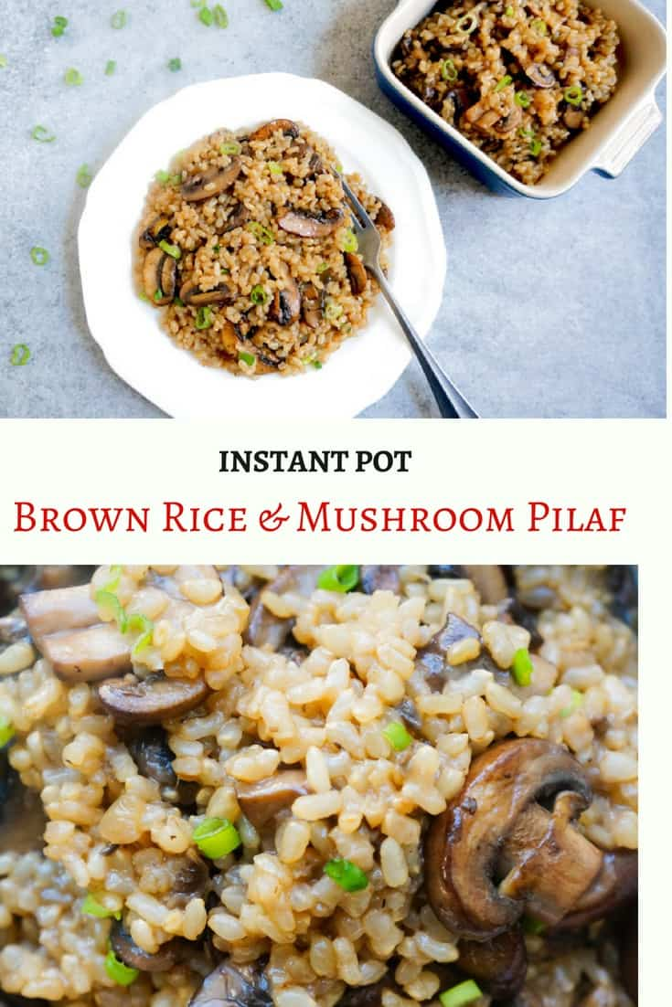 Easy & Delicious Brown Rice and Mushroom Pilaf. A flavorful one-pot dish with just 5 main ingredients. It is perfect to make on a weeknight and enjoy as a side or even as a whole meal   #brownrice #rice #mushroom #pilaf #pulao #vegetarian #vegan #glutenfree #instantpot #pressurecooker #onepot #ad #perfectlyimperfectproduce   pipingpotcurry.com