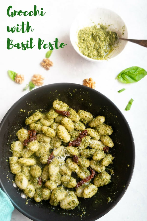 A quick and yummy meal, Gnocchi with Pesto Sauce. This can be prepared in less than 20 minutes for adelicious satisfying dinner for those busy weeknights.| #gnocchi #italian #recipe #pesto #easy #quick #dinner #potato | pipingpotcurry.com