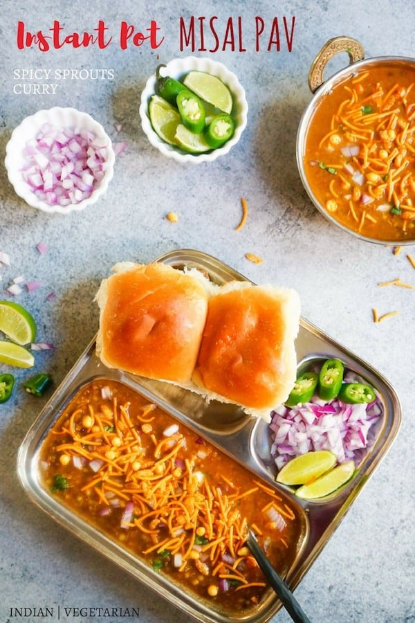 A delicious Mumbai breakfast, Misal Pav made as a one-pot recipe in the Instant Pot. Misal is a spicy sprouts curry cooked with onions, tomatoes, ginger, garlic and coconut. This is then topped with onions, lemon juice, farsan and enjoyed with pav (dinner rolls) | #misal #usal #pav #indian #mumbai #streetfood #curry #instantpot #pressurecooker #vegetarian | pipingpotcurry.com