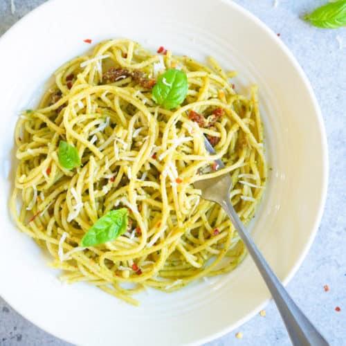 Instant Pot Spaghetti Pesto.