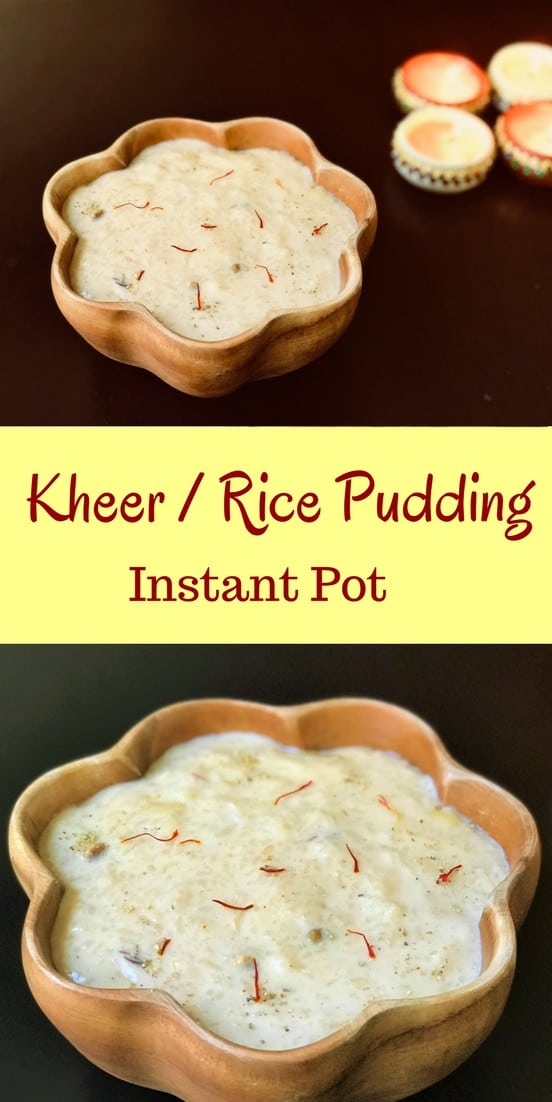 Making Kheer or Rice Pudding in the instant pot is so easy. Made with rice and milk infused with saffron, cardamom and assorted dried fruits. Just add all the ingredients and set to Porridge mode. Come back to perfectly creamy kheer in less than 40 mins! #rice #milk #saffron #kheer #pudding #recipe #indian #dessert #instantpot #pressurecooker  #vegetarian #glutenfree   pipingpotcurry.com