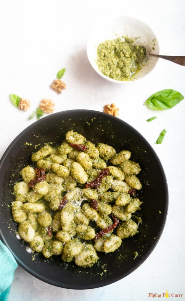 Basil Pesto Gnocchi with sun-dried tomatoes