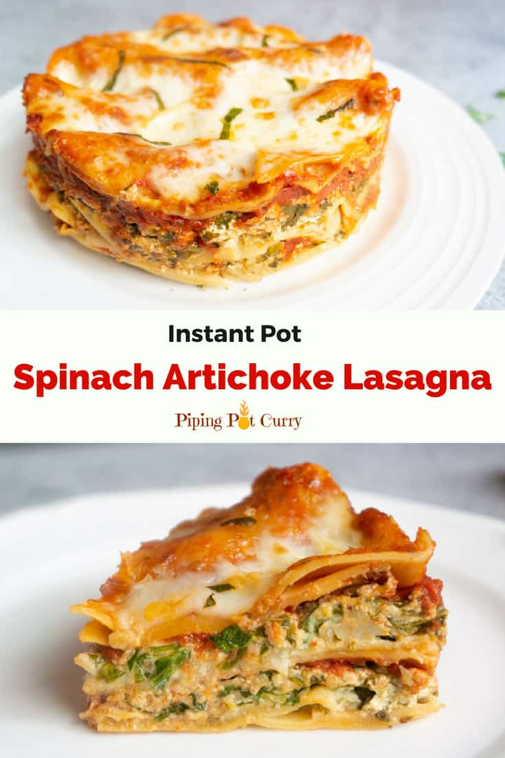 A healthy vegetarian lasagna with lots of fresh spinach, Reese Marinated Artichokes and cheese layered between noodles. Step out of your comfort zone and try this delicious lasagna in the instant pot | #ad #instantpot #pressurecooker #lasagna #spinach #artichoke #vegetarian #easy #recipe #vegetable #ricotta #veggie #homemade #fortwo #meatless #pasta #noboil #reesespecialty #StepOutOfYourComfortFood | pipingpotcurry.com