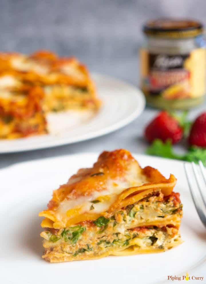 Spinach Artichoke Lasagna in Instant Pot