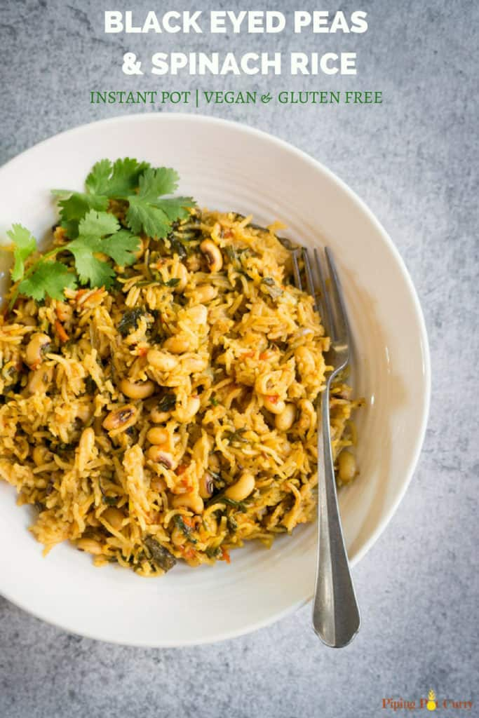 Instant Pot Black Eyed Peas & Spinach Rice
