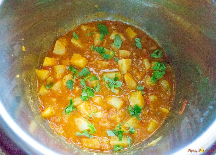 Instant Pot Potato Curry - Ready garnished with cilantro
