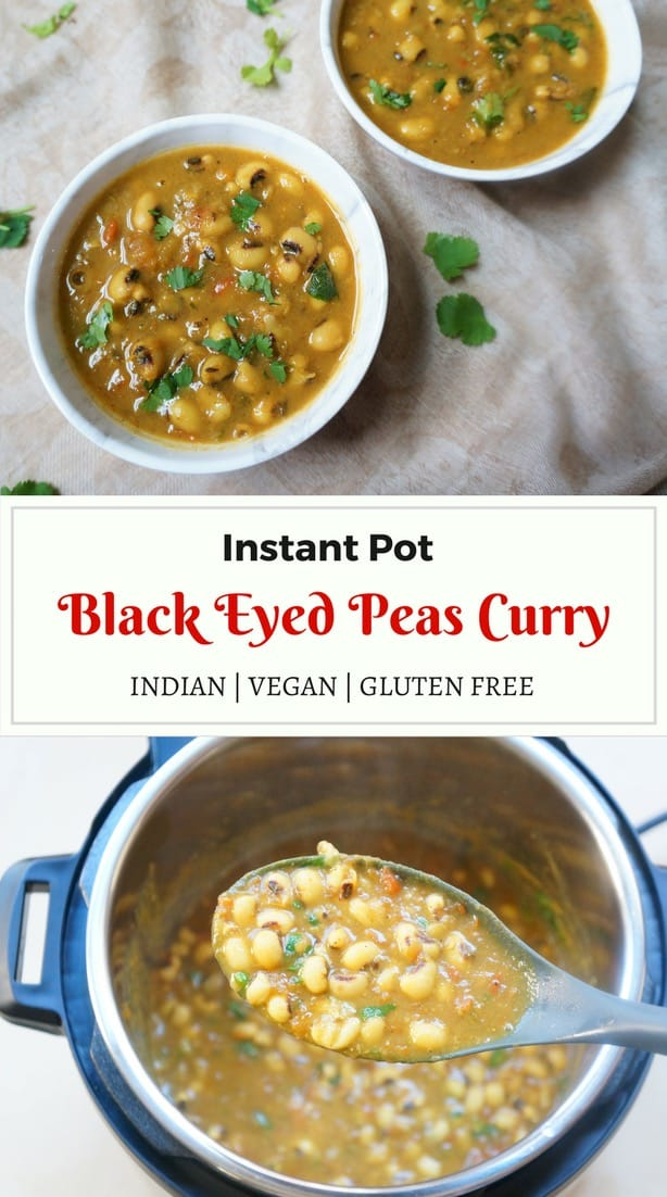 Black Eyed Peas Curry or #Lobhia Masala is a popular dish in North India. It is made in an onion-tomato gravy, along with lots of ginger, garlic and aromatic spices. It is perfect to enjoy with some steaming basmati rice and parathas | #blackeyedpeas #curry #indian #vegan #instantpot #pressurecooker #glutenfree | pipingpotcurry.com