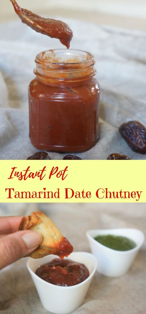 Tamarind & Date Chutney / #Khajoor #Imli ki #chutney made in #InstantPot or #PressureCooker. This chutney is both #sweet and #tangy at the time, prepared with #tamarind #dates, #jaggery and #spices | #easy #indian #streetfood #recipe | pipingpotcurry.com