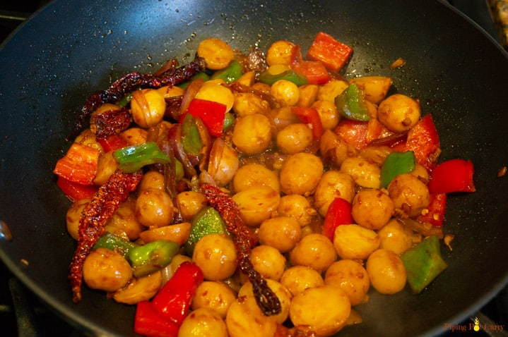 Garlicky Chili Potatoes - Step 2 Add sauces, bell pepper and potato