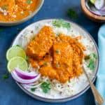 Instant Pot Salmon Tikka Masala served over basmati rice