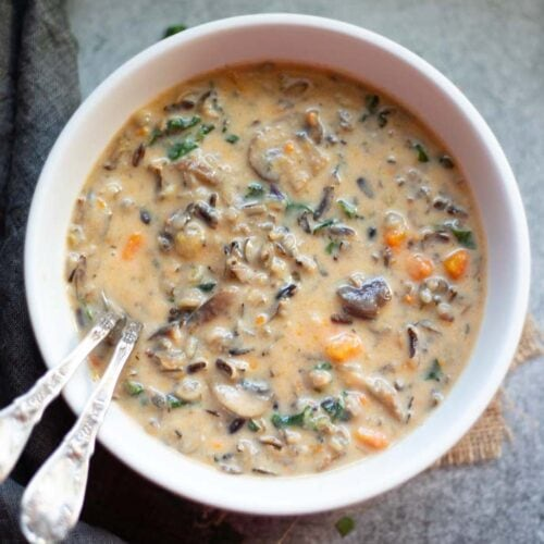 Mushroom wild rice soup in a white bowl