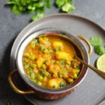 Aloo Matar made in instant pot served in a bowl