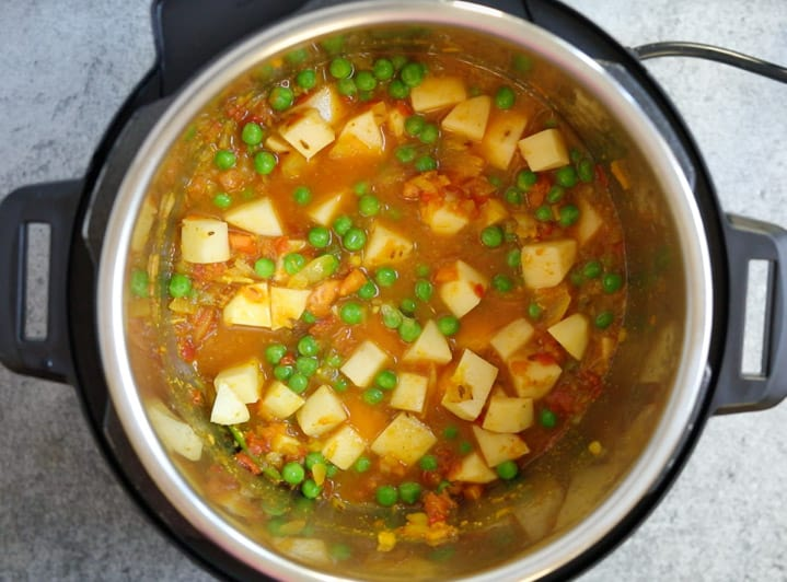Aloo Matar in instant pot - Step 6 Add water, stir and ready to cook